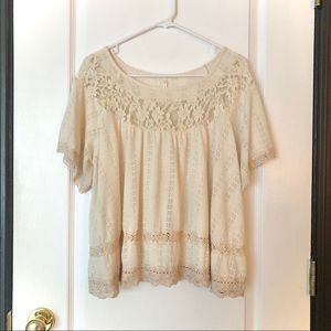 Free people lace short sleeve blouse